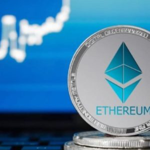Ethereum coin with an upward chart behind it