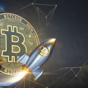 Picture of a bitcoin with a flying rocket in front of it