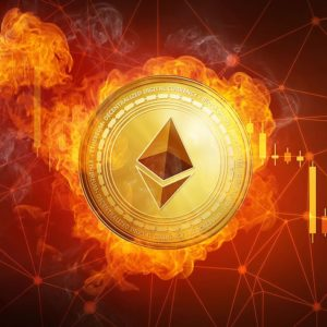 Picture of an ethereum coin on fire with downward candlestick chart behind it