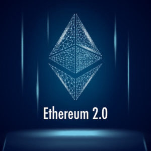Picture of ethereum symbol with Ethereum 2.0 written underneath it