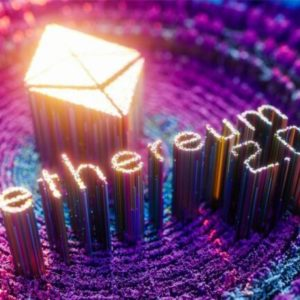 picture of a shiny ethereum logo with ethereum 2.0 written underneath it