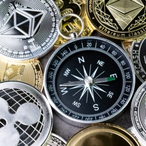 Picture of altcoins surrounding a compass