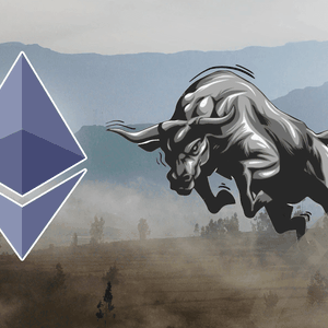 Picture of a bull surging towards an Ethereum logo