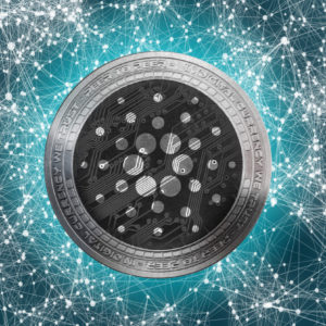 Picture of a Cardano coin in the center of interconnected dots across the world