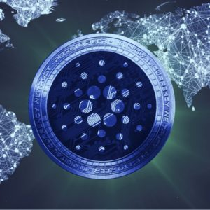 Picture of a Cardano coin in front of a map of the world, with interconnected lines all through different countries