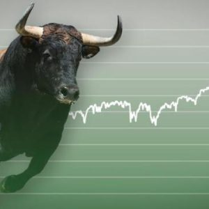 picture of a bull on a green upward chart