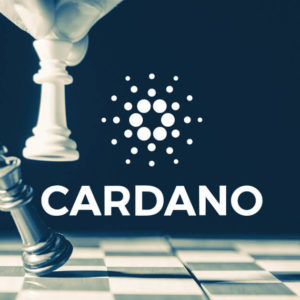 Picture of a hand playing chess with Cardano and its logo on top of it
