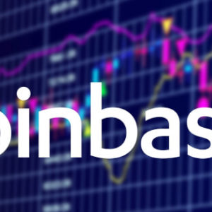 Coinbase cryptocurrency stock market name on abstract digital background