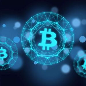 Picture of bitcoin logos in light blue bubbles