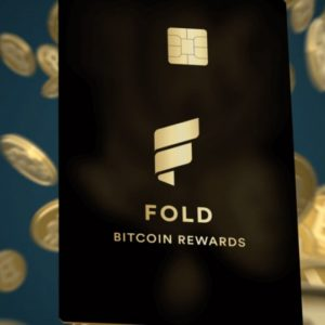 Fold card with bitcoins at the back