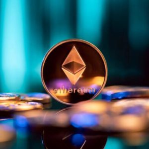 Picture of an Etheruem coin starting among other Ethereum coins