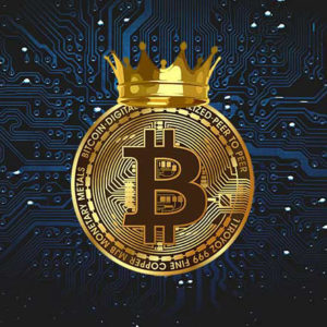 picture of a bitcoin with a gold crown on it
