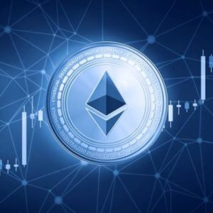 picture of an Ethereum coin with a candlestick chart going through it