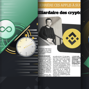 Picture of binance CEO on a newspaper page
