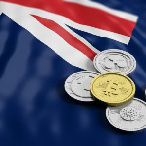 Picture of different crypto coins on top of an Australian flag