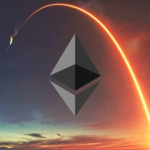 Picture of a rocket flying over an Ethereum logo