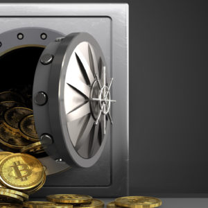 Picture of bitcoins pouring out of a vault