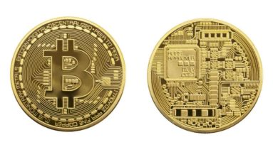 Picture of a gold bitcoin showing the front and back of the coin