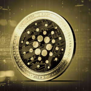 Picture of a gold and black Cardano coin