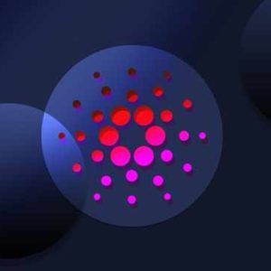 Picture of a Cardano logo with red light glowing through it