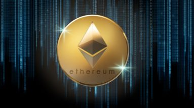 Picture of a gold Ethereum coin with computer code raining down behind it