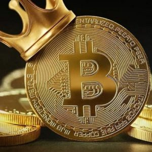 Picture of a gold bitcoin with a gold crown on it